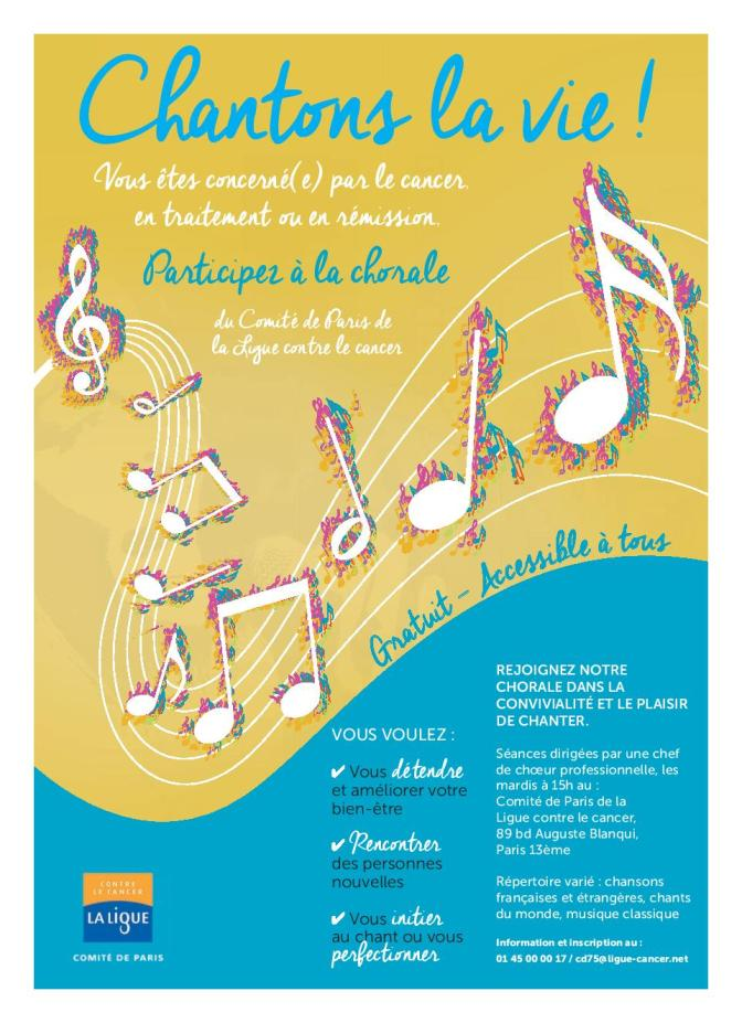 Marre de déchanter ? et bien chantez maintenant ! The Parisian «Ligue contre le cancer» has its own choir now.